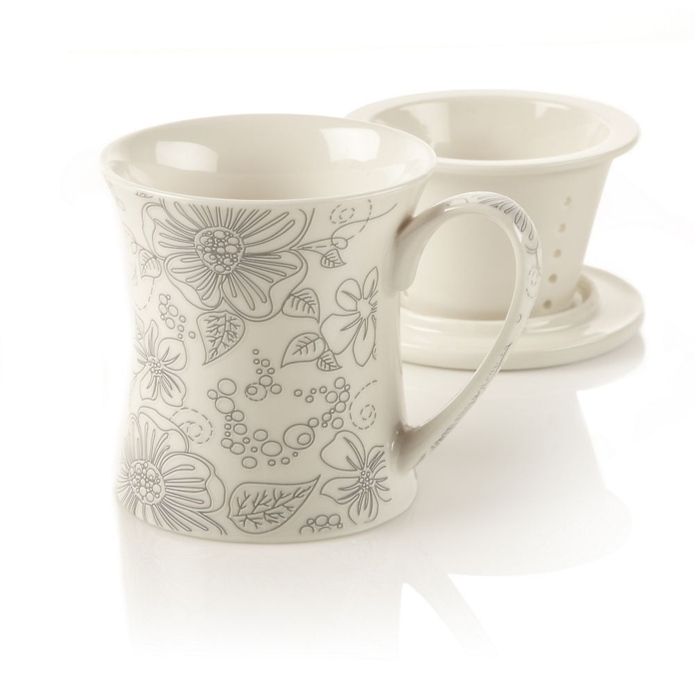 New Bone China Infuser Mug with Flower Design, Linea Poppy, 10oz