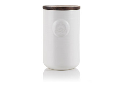 White Stoneware Tea Canister