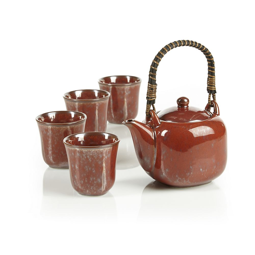 Teavana Square Reactive Red Teapot Set