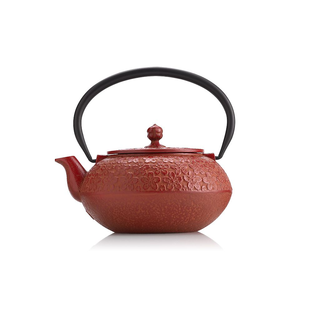 Teavana Red Flower Cast Iron Teapot