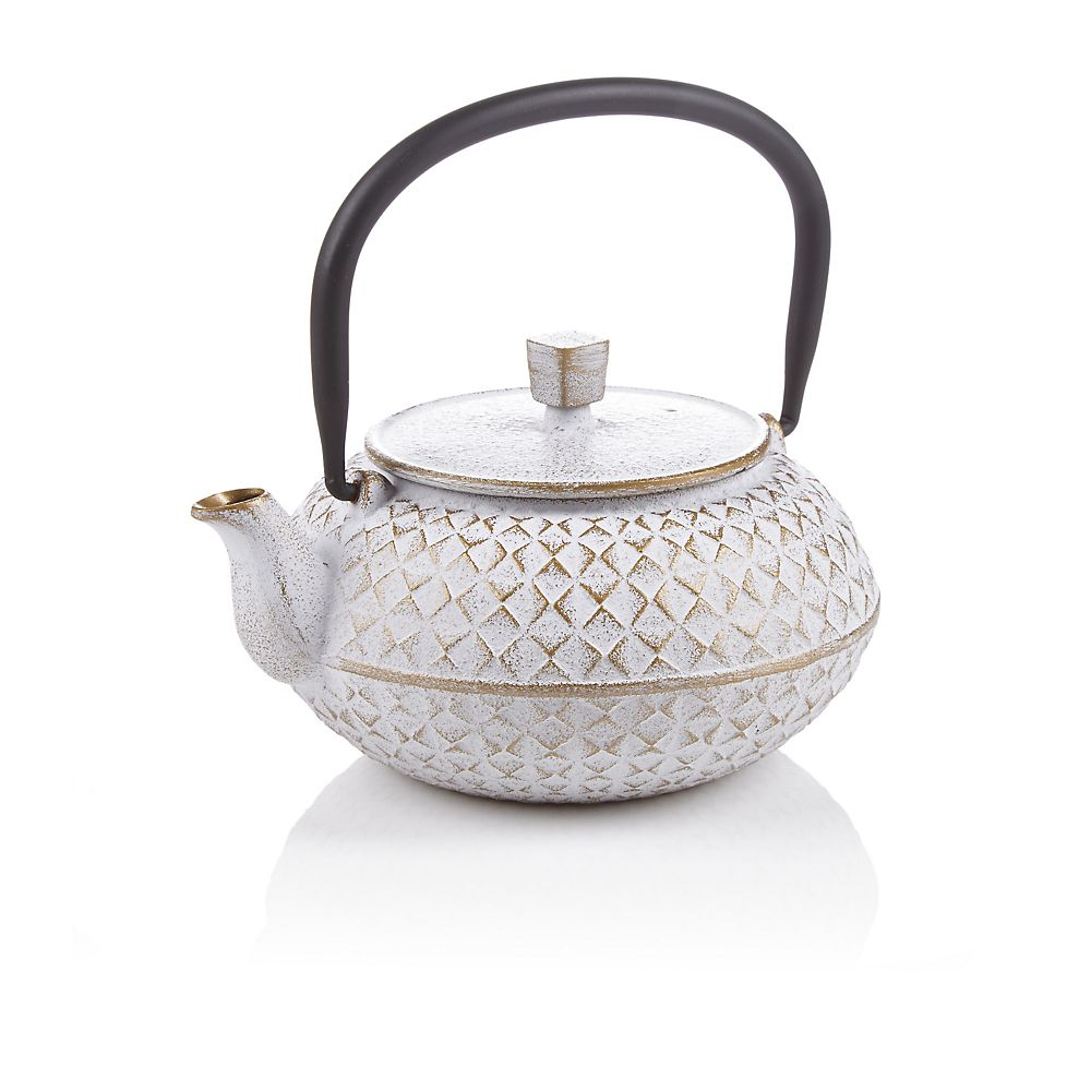 Teavana White Grid Cast Iron Teapot