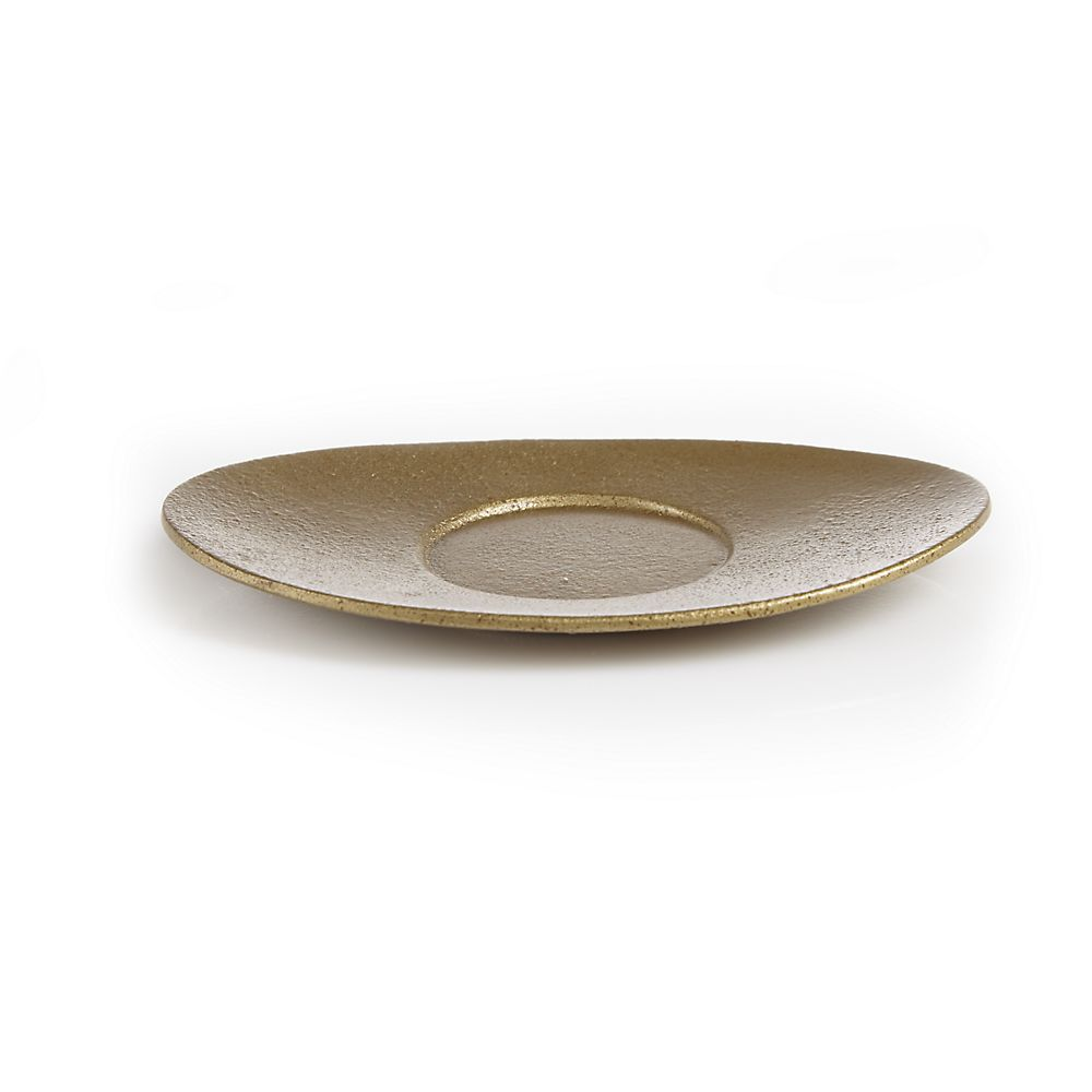 Teavana Oval Gold Cast Iron Coaster
