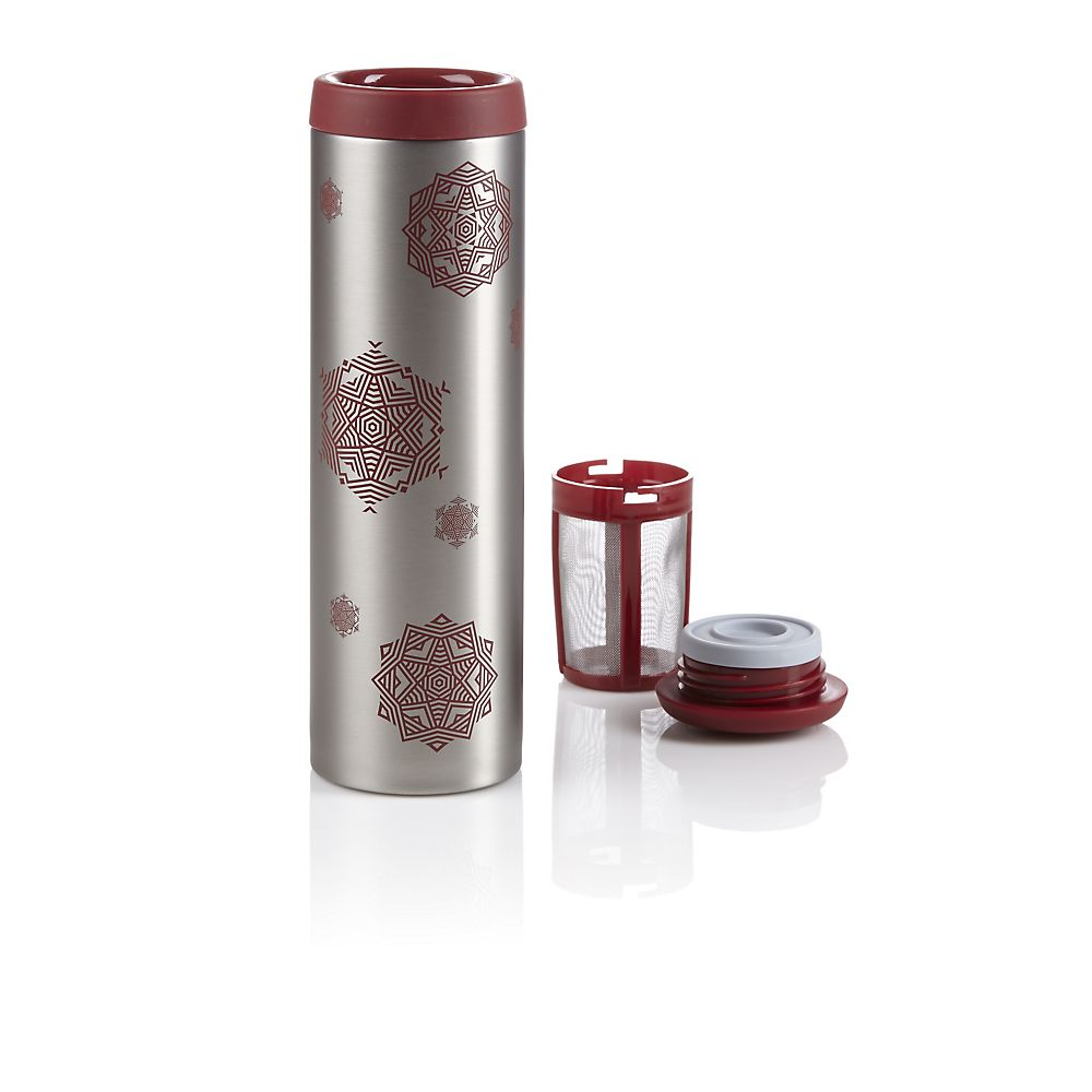 Teavana Red Snowflake Tumbler with Infuser