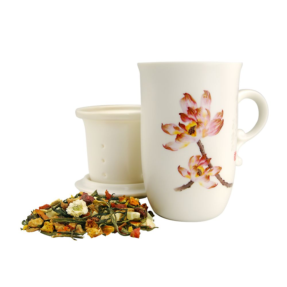 Teavana Embossed Lotus Tea Mug with Infuser