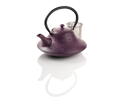 Stars and Mountain Purple Cast Iron Teapot