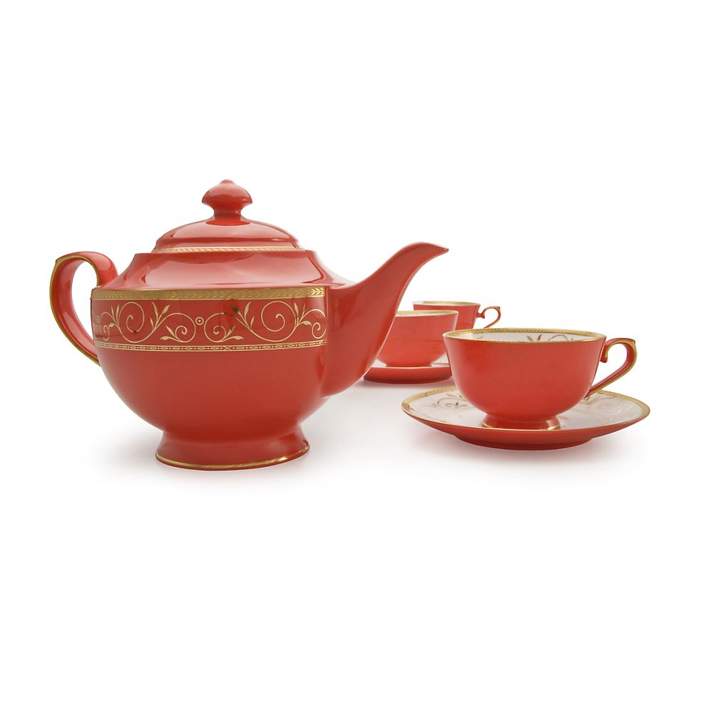 Teavana Ruby Filigree Bone China Tea Set