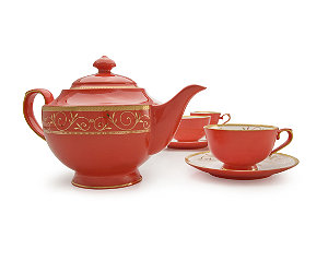 Featured Item: Ruby Filigree Bone China Tea Set