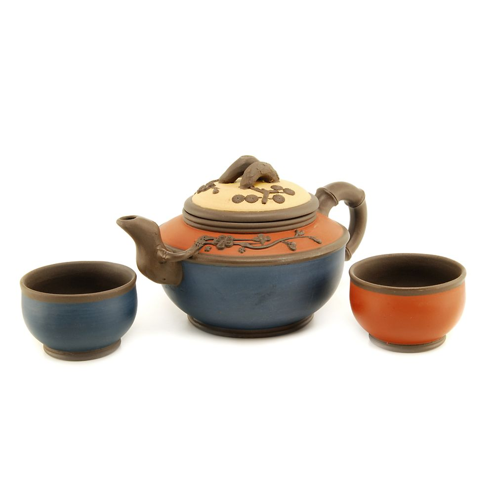 Teavana Tricolor Yixing Teapot Set with two cups
