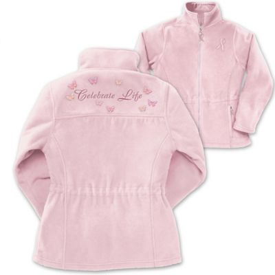 Celebrate Life Embroidered Fleece Breast Cancer Jacket