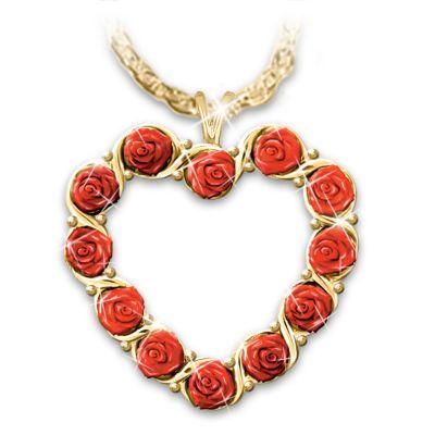 The Dozen Roses Heart Pendant Necklace