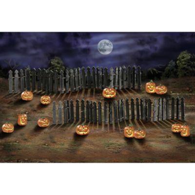 Rickety Fence & Spooky Jack o' Lantern Village Accessory Set