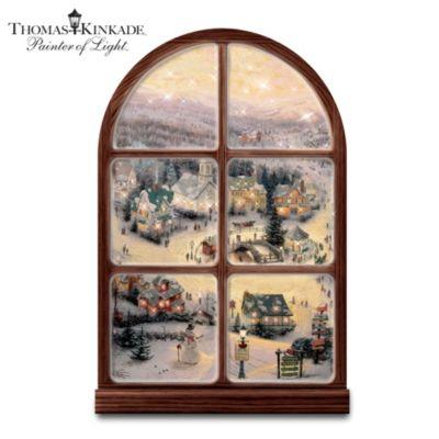 Thomas Kinkade Holiday Lights Window Wall Decor