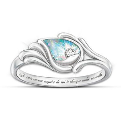 Je Suis Avec Toi Diamond And Created Opal Women's Ring