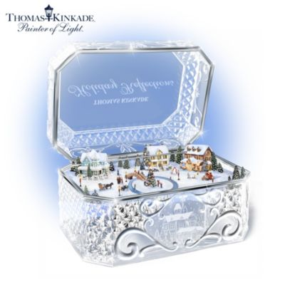 Thomas Kinkade Holiday Reflections Crystal Music Box