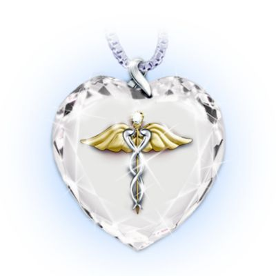 Healing Touch Crystal Heart Pendant Necklace