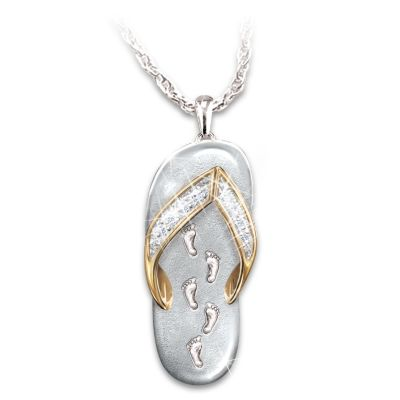 My Dear Granddaughter Footprints In The Sand Crystal Pendant