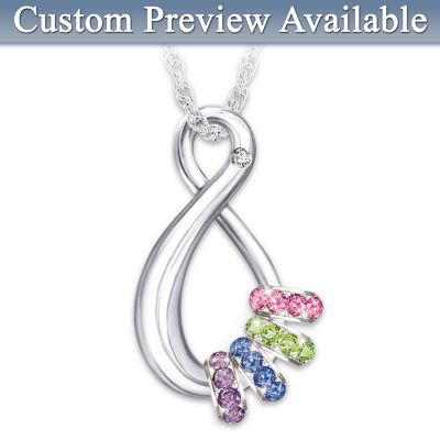 Mother's Infinite Joy Birthstone Pendant Necklace