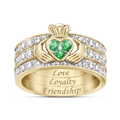 Blessing Of The Claddagh Emerald & Diamond Ring