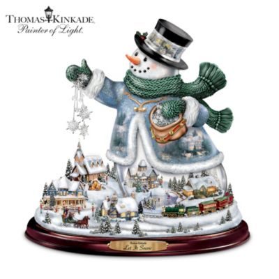Thomas Kinkade Let It Snow Tabletop Centerpiece