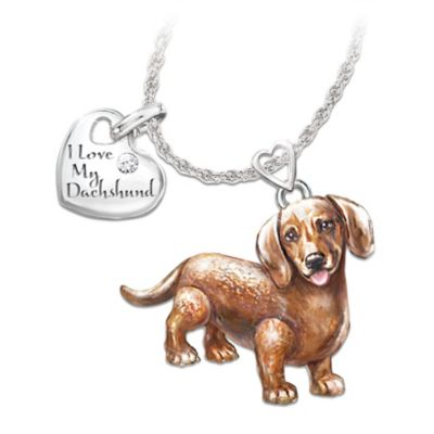 Playful Pup Diamond Pendant Necklace - Dachshund