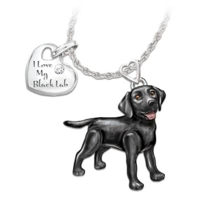 Playful Pup Diamond Pendant Necklace - Black Lab