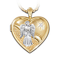 Guardian Angel Locket Pendant Necklace