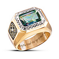 Pride Of Ireland Diamond And Mystic Topaz Ring