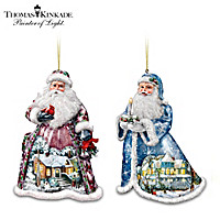 Thomas Kinkade Sugar-Coated Santas Ornaments: Set One