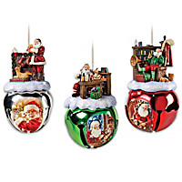 Santa Sleigh Bells Ornament Set