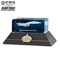 U.S.S. Enterprise NCC-1701-D Laser-Etched Glass Block