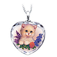 Darling Kitten Heart-Shaped Crystal Pendant Necklace