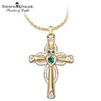 Thomas Kinkade Emerald & Diamond Claddagh Pendant Necklace