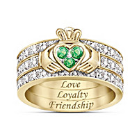 Blessing Of The Claddagh Emerald And Diamond Ring