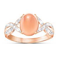 Sweet Sorbet Diamond And Peach Moonstone Ring