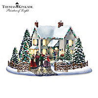 Thomas Kinkade Evening Carollers Village Sculpture Set