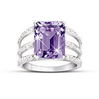Timeless Radiance Purple Amethyst And Diamond Ring
