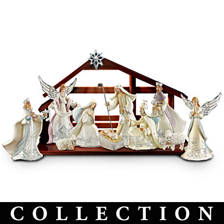 """""""Silver Blessings"""" Porcelain Nativity Collection With Lights"""