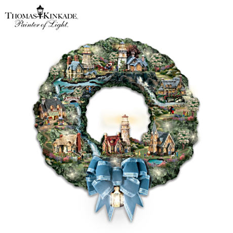 "Thomas Kinkade ""Seaside Village"" Illuminated Wreath"
