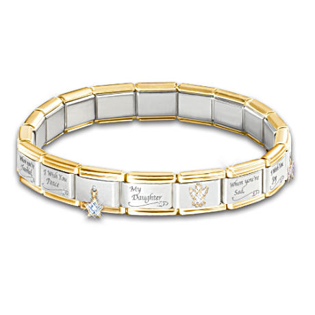 Engraved Italian 17-Charm Bracelet For Daughters