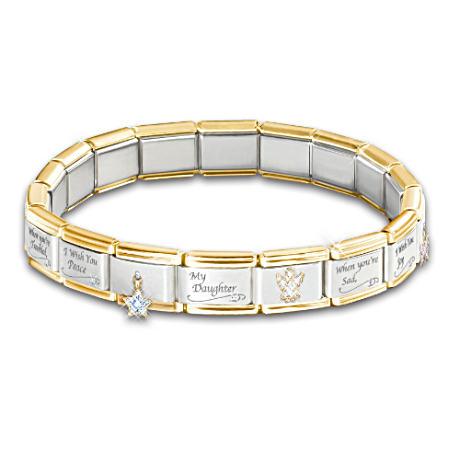 Engraved Italian 17-Charm Bracelet For Daughters