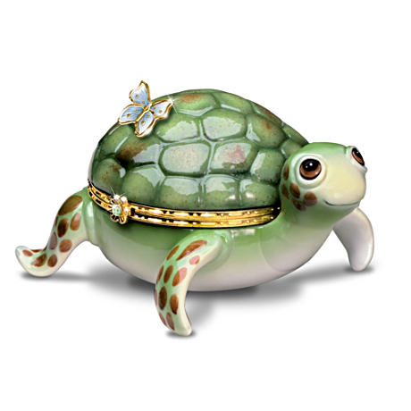 Porcelain Baby Sea Turtle Music Box