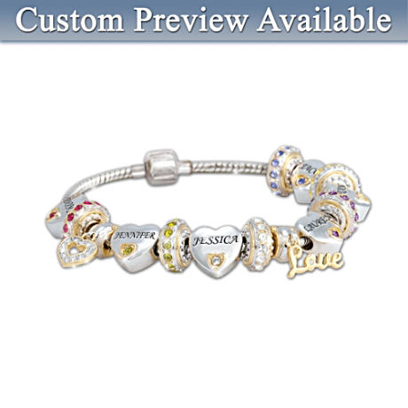 """Forever In A Mother's Heart"" Personalized Bracelet"