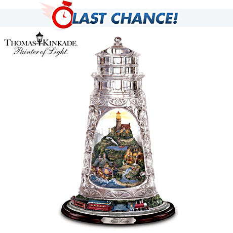 Kinkade Crystal Lighthouse With Lighted Village, Train