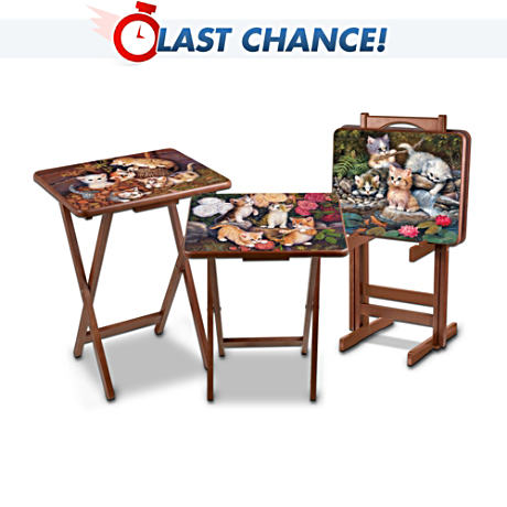 Kitten Art Tray Table Set With Storage Stand
