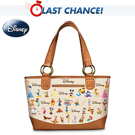 Disney Characters Tote Bag With Leather Trim