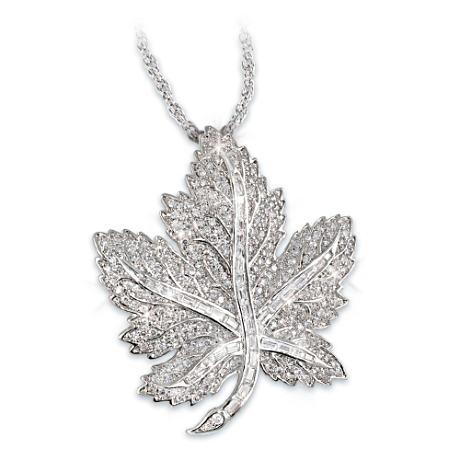 Canadian Pride Maple Leaf Swarovski Crystal Pendant Necklace