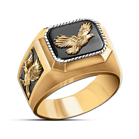 Black Onyx Ring With 3 Raised-Relief Sculpted Eagles