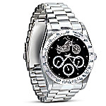 Ride Hard, Live Free Stainless Steel Motorcycle Chronograph Watch: Jewelry Gift For Biker