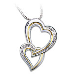 Gifts for Daughters Special Gift For Daughter: A Daughter's Heart Sterling Silver Heart-Shaped Diamond Pendant