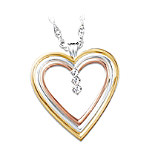 True Love 3-Diamond Heart Pendant Jewelry Gift for Her